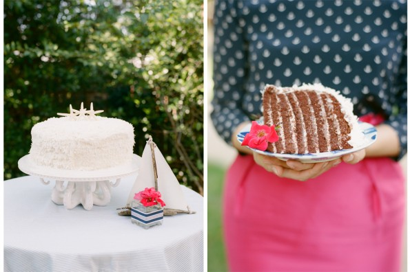 Smith Island Cake and Octopus BHLDN cake stand: planned by Lauryn Prattes with Table 6 Productions; photography by Abby Jiu Photography, flowers by Holly Chapple Flowers