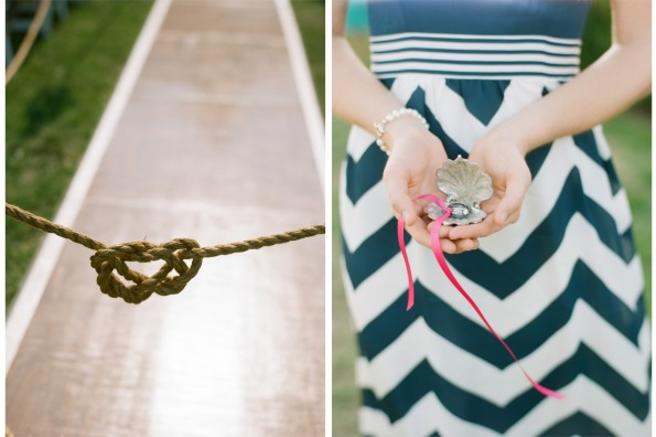 Nautical heart sailors knot wedding and shell ring holder: : planned by Lauryn Prattes with Table 6 Productions; photography by Abby Jiu Photography, flowers by Holly Chapple Flowers