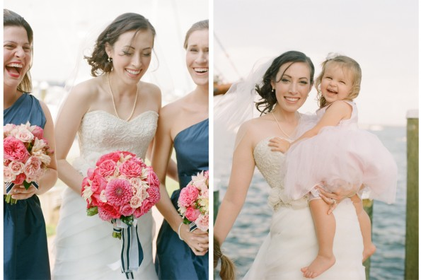 Nautical Navy Pink Bridesmaids Wedding: planned by Lauryn Prattes with Table 6 Productions; photography by Abby Jiu Photography, flowers by Holly Chapple Flowers