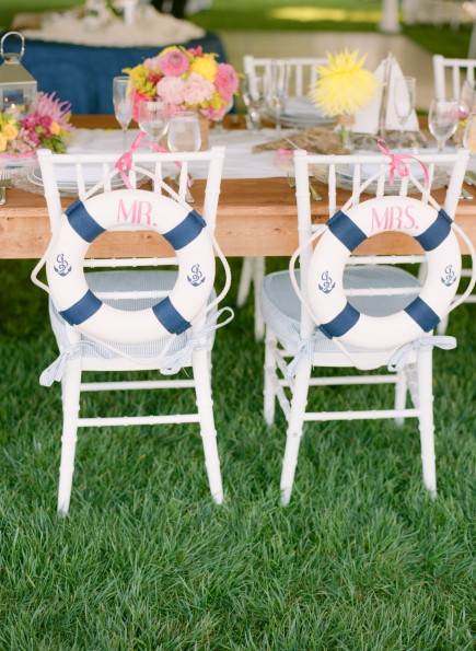 Nautical life ring Bride Groom Chairs: planned by Lauryn Prattes with Table 6 Productions; photography by Abby Jiu Photography; centerpieces by Holly Chapple Flowers